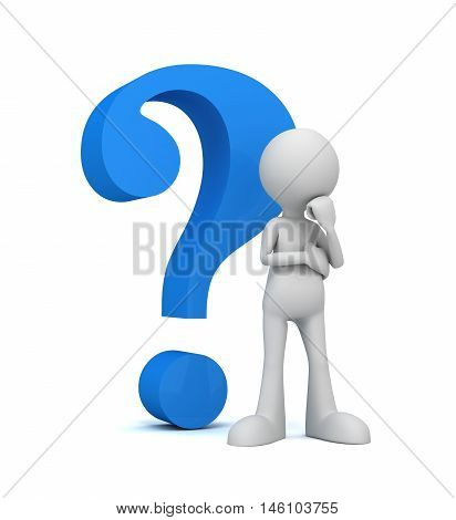 question mark and man 3d illustration isolated on white background
