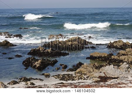 This is an image of the incoming tide at Asilomar State Preserve in Pacific Grove, California.