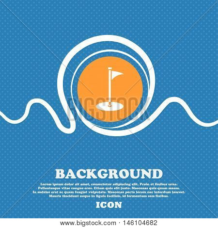 Golf Icon Sign. Blue And White Abstract Background Flecked With Space For Text And Your Design. Vect