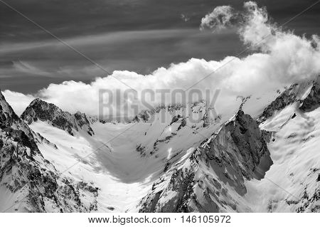 Black And White Winter Mountains In Clouds