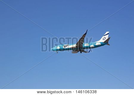 Boryspol Kiev region Ukraine - October 30 2015. UP (ELAL budget brand) Boeing B737-800 lands at Boryspil International Airport (KBP). Low-cost brand