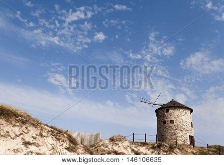 Ancient windmill near the coast, Esposende, Portugal