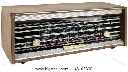 Old Wooden Radio Receiver Cutout