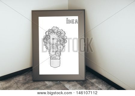 Picture frame with abstract cogwheel light bulb image leaning on concrete wall. Idea concept. 3D Rendering