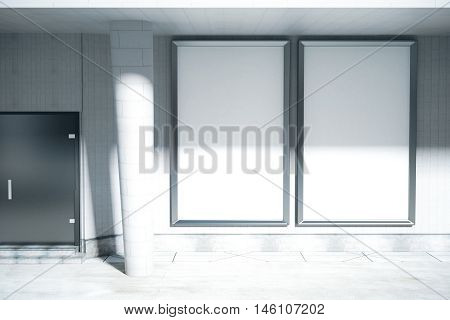 Concrete exterior with door column blank ad posters and daylight. Mock up 3D Rendering