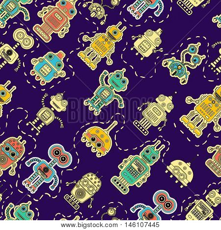 Colorful cartoon retro robots background. Vector seamless pattern. Amazing artistic wallpaper. Can be used for web site page surface textures textile print wrapping paper.