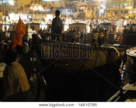 Boatloads Of Tourists And Hindu Pilgrims Attend Aarti Evening Services