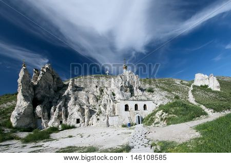 Orthodox cathedral carved out of natural rock in Divnogorie Russia