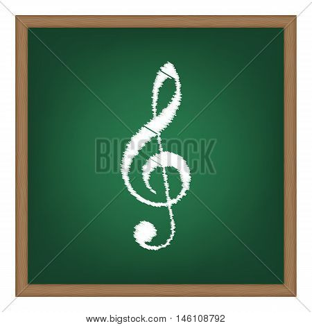 Music Violin Clef Sign. G-clef. Treble Clef. White Chalk Effect On Green School Board.