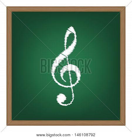 Music Violin Clef Sign. G-clef. Treble Clef. White Chalk Effect On Green School Board.