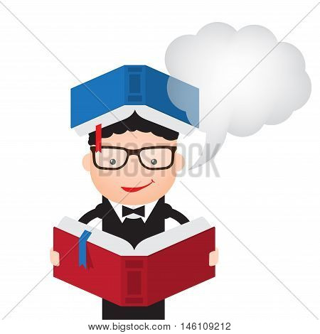 Illustration of a man reading a book with cloud for text