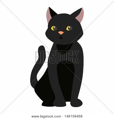 Cartoon style black cat vector silhouette. Cute domestic cat animal sitting. Cartoon black cat young adorable tail symbol playful. Cartoon funny domestic pussy kitty black cat sit character