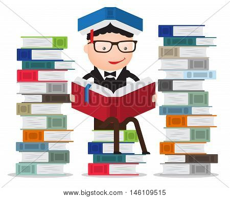 graduate or student or pupil leaning on a pile of books reading
