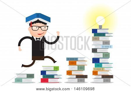 the student runs through the stacks of books up to knowledge