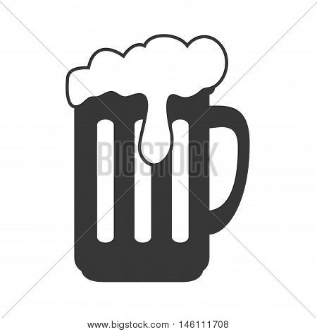beer mug drink with foam. beverage alcohol. silhouette vector illustration