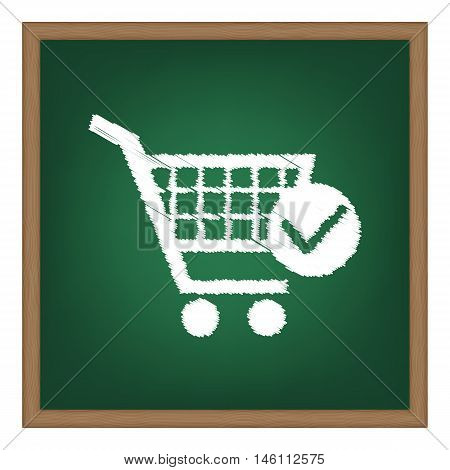 Shopping Cart With Check Mark Sign. White Chalk Effect On Green School Board.