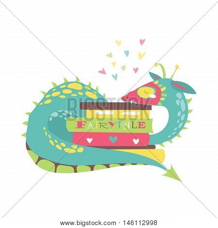 Cute dragon with stack of books. Vector illustration