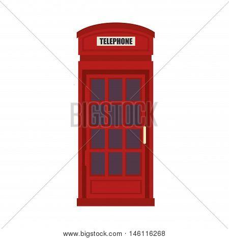 red british telephone cabin. london symbol. vector illustration