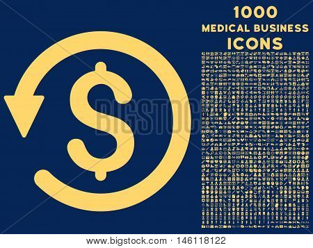 Chargeback raster icon with 1000 medical business icons. Set style is flat pictograms, yellow color, blue background.