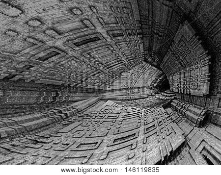 Absract tech style background - computer-generated fractal. 3D rendering illustration: dark cavern or tunnel with textured walls. Technology background or creative concept.
