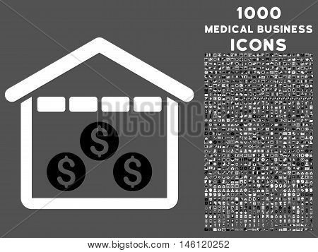 Money Depository raster bicolor icon with 1000 medical business icons. Set style is flat pictograms, black and white colors, gray background.