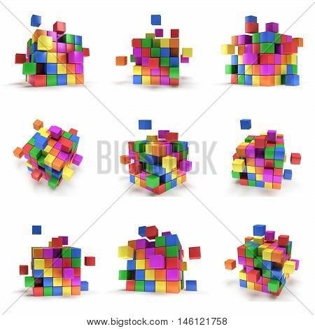 Abstract 3d cubes. set Composition of 3d cubes. 3d render illustration isolated on white. Assembling concept. Teamwork Business. 3D render icon.