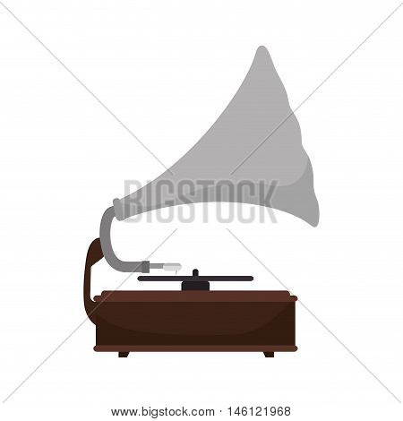 gramophone vynil musical device. retro music object. vector illustration