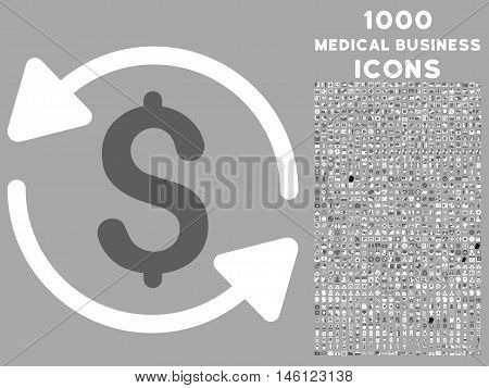 Money Turnover raster bicolor icon with 1000 medical business icons. Set style is flat pictograms, dark gray and white colors, silver background.