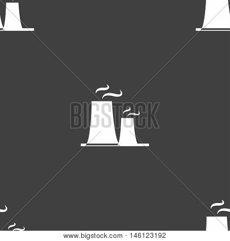 Atomic Power Station Icon Sign. Seamless Pattern On A Gray Background. Vector