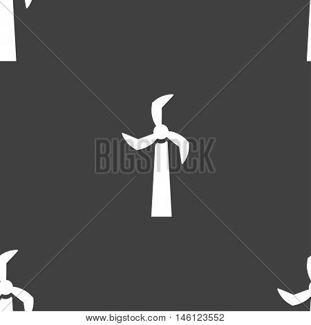 Windmill Icon Sign. Seamless Pattern On A Gray Background. Vector