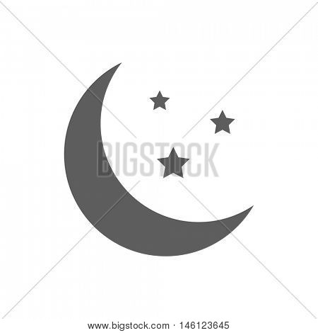 Moon and stars icon illustration isolated on a white background