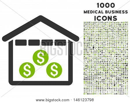 Money Depository raster bicolor icon with 1000 medical business icons. Set style is flat pictograms, eco green and gray colors, white background.