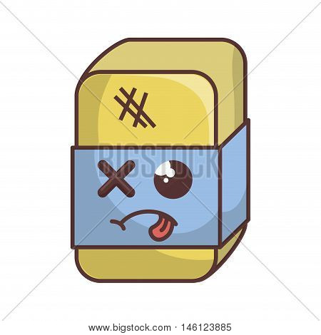 kawaii cartoon eraser with blue label and sick face. stationery school tool. vector illustration