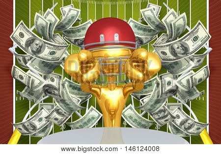 Football Character With Money 3D Illustration