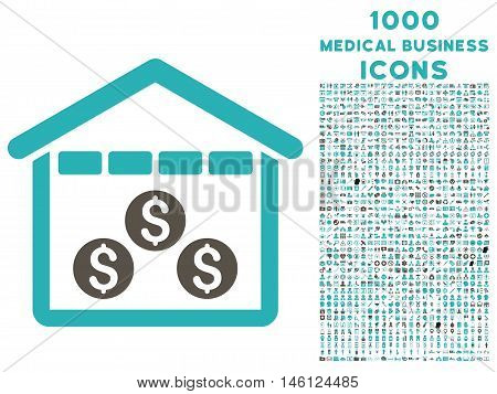 Money Depository raster bicolor icon with 1000 medical business icons. Set style is flat pictograms, grey and cyan colors, white background.