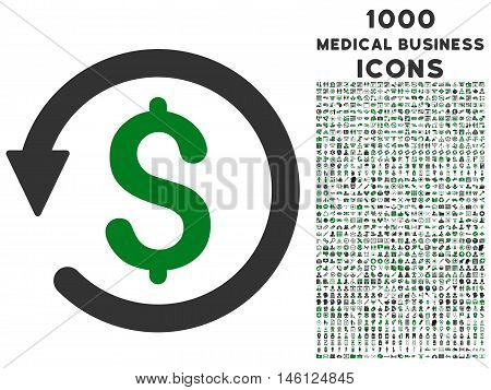 Chargeback raster bicolor icon with 1000 medical business icons. Set style is flat pictograms, green and gray colors, white background.