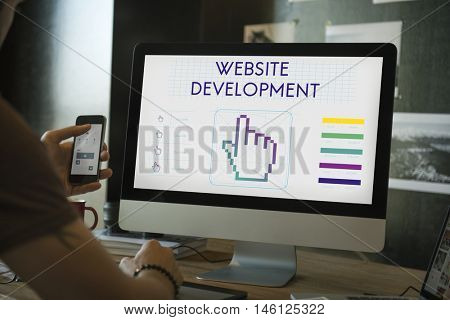Website Development Links Seo Webinar Cyberspace Concept