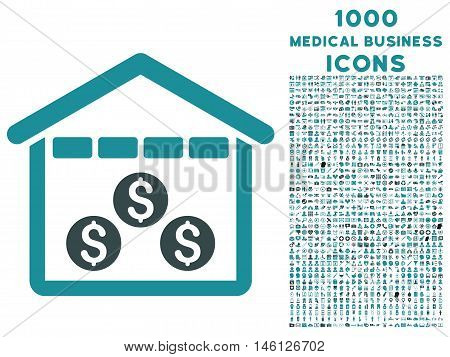 Money Depository raster bicolor icon with 1000 medical business icons. Set style is flat pictograms, soft blue colors, white background.
