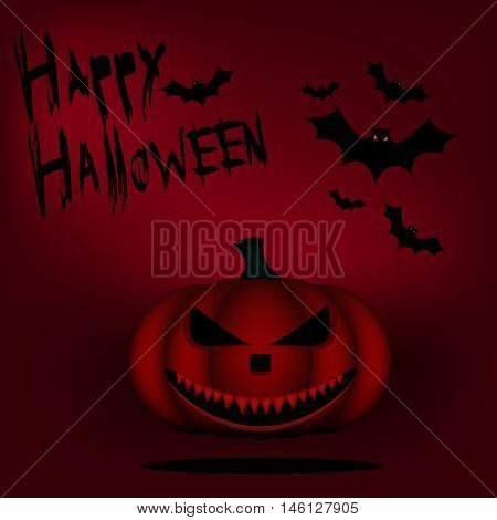 Toothy mad Lantern for Halloween. Halloween banner on a red background with bats and pumpkin.