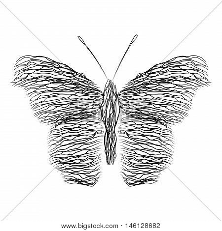 Silhouette of a butterfly wavy lines intertwined.