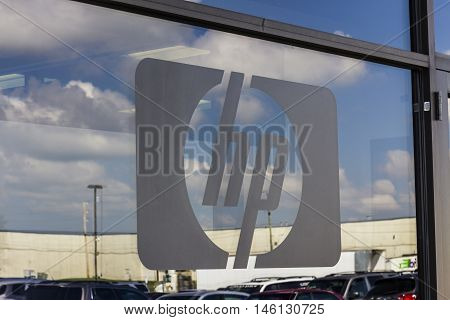 Indianapolis - Circa September 2016: Hewlett-Packard Logo at the entrance of a warehouse. HP is an information technology company I