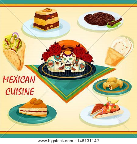 Mexican cuisine sandwiches and desserts icon with nachos and tomato sauce salsa, burrito, empanadas, bread pudding, apricot pie, spicy chocolate cookie and tray with sugar sculls