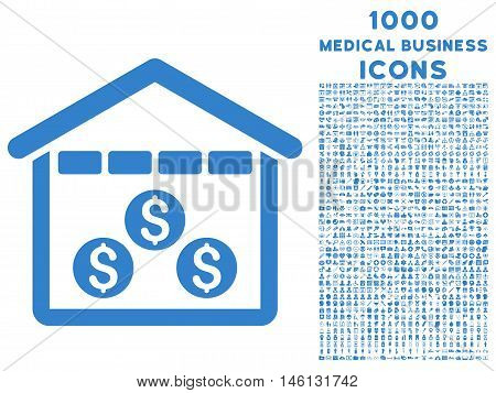 Money Depository raster icon with 1000 medical business icons. Set style is flat pictograms, cobalt color, white background.