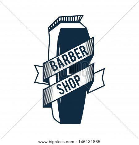 barber trimmer with label. barbershop professional equipment. vector illustration