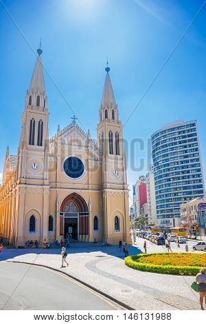 CURITIBA , BRAZIL - MAY 12, 2016: the roman catholic archdiocese located in curitiba capital of the brazilian state of parana.