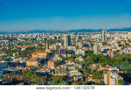 CURITIBA , BRAZIL - MAY 12, 2016: nice view of the skyline of the city, curitiba is the eighth most populous city in brazil.