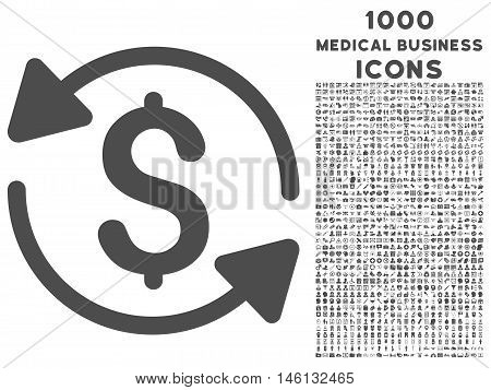 Money Turnover raster icon with 1000 medical business icons. Set style is flat pictograms, gray color, white background.
