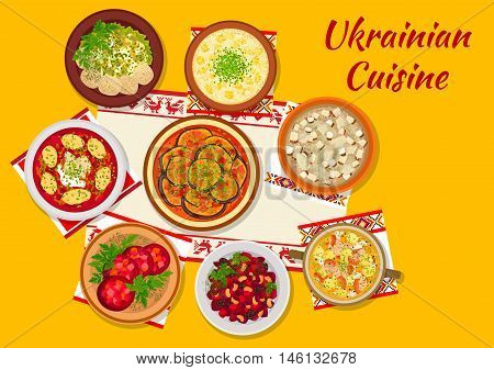 Ukrainian cuisine dishes icon with beet soup borscht with dumplings, mushroom and chicken aspic, eggplant stew, millet soup with pork fat, beet with pickled vegetables, bean and beet salad with prunes