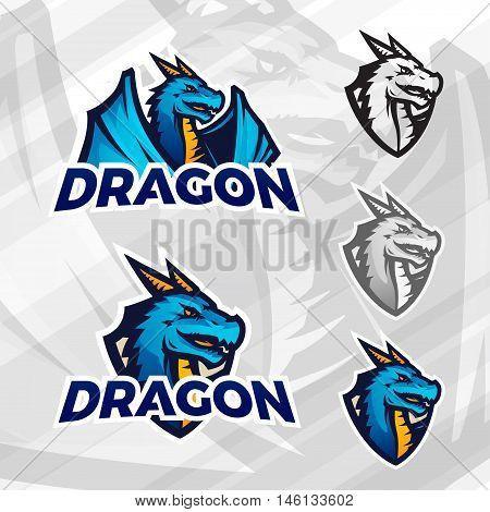 Creative dragon logo template. Sport mascot design. College league insignia, Asian beast sign, Dragons illustration, Football poster