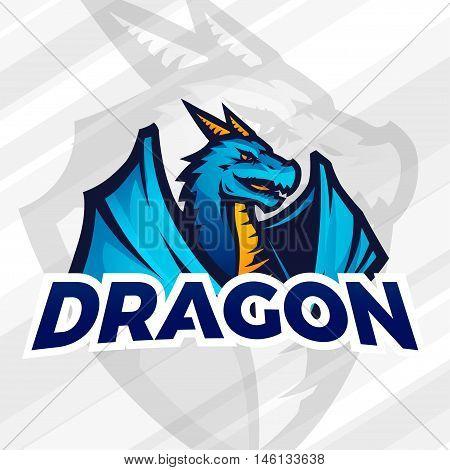 Dragon sport mascot. Football or baseball logotype. College league insignia, School team vector.